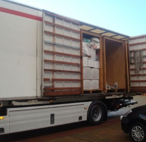temporary storage containers on lorry