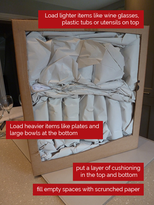 how to pack a kitchen box for moving house
