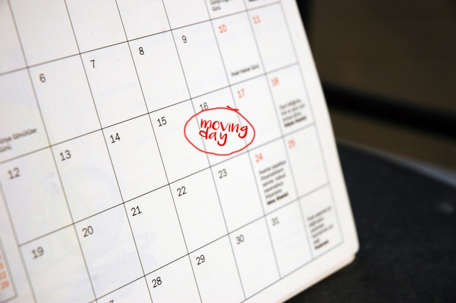 moving day circled on a calendar to work out when to book a removal company