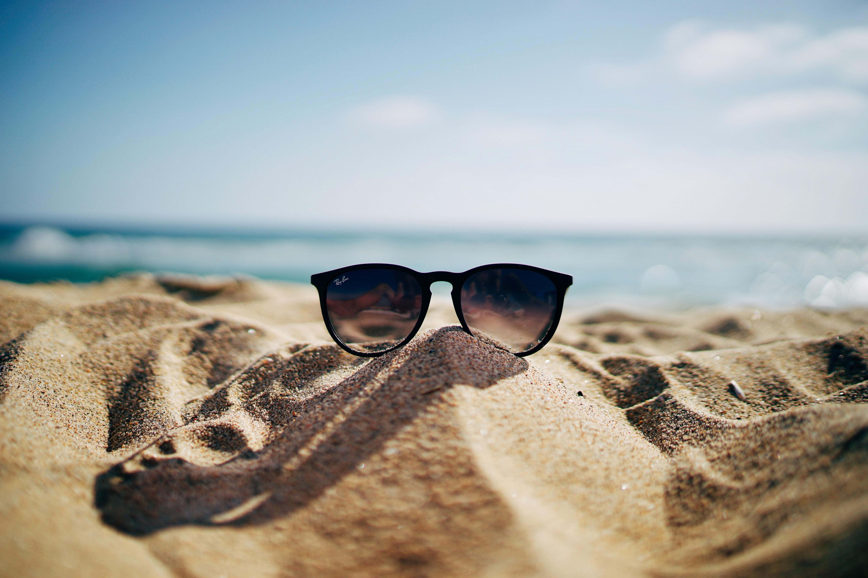 sunglasses on sandy beach in summer